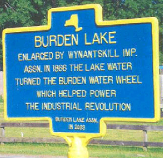 Historical marker for Burden Lake in Sand Lake.