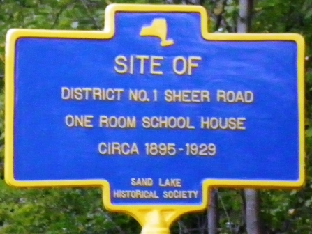 Historical marker for site of 'District 1' school house.