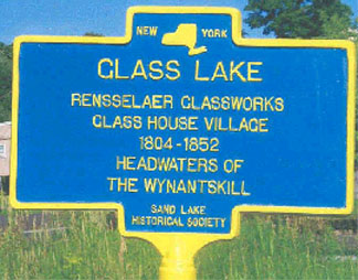 Historical marker for Glass Lake / Glass House.