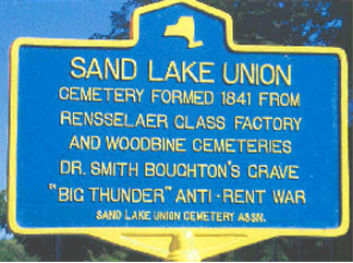 Historical marker for Sand Lake Union Cemetery in Sand Lake.