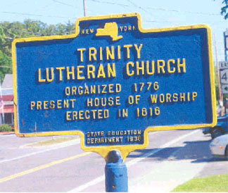 Historical marker for Trinity Lutheran Church in West Sand Lake.