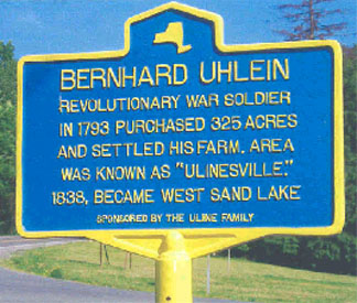 Historical marker for Bernhard Uhlein in West Sand Lake.