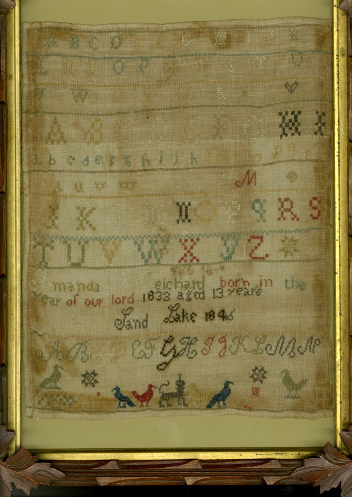 Amanda's sampler; click to enlarge. Photo courtesy Rensselaer County Historical Society