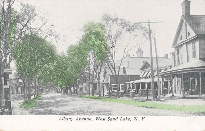West Sand Lake, looking west from the four corners, circa 1900; now site of the new Rite Aid. Click to enlarge.